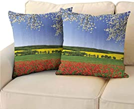 QIAOQIAOLO Pack of 2 Decorative Pillowcase Flower Decor for Bedroom 20x20 inch Poppy Field with a Spring Landscape and Blossom Tree View in Meadow Nature Image Home Decor Multi
