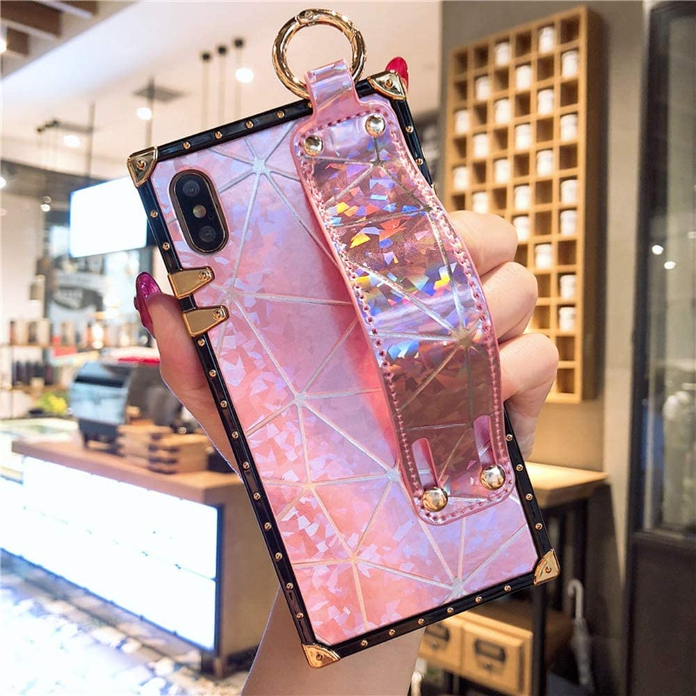 KAPADSON for iPhone x case,iPhone Xs case Blu - Ray Diamond Glitter Stand Square Metal Protection Corner Back Cover Goddess Style - Diamond Pink