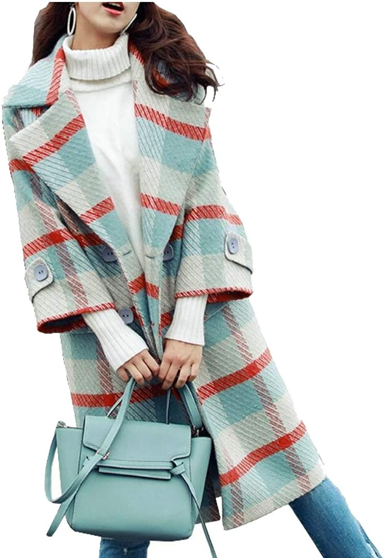 Jxfd Women's Wool Blend Jacket Double Breasted Plaid Trench Coat Outwear
