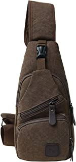 Sling Backpack,Mini Sling Bag, Travel Hiking Daypack,Canvas Crossbody Shoulder Backpack for Men or Women
