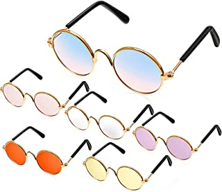 Excefore 6 Pcs Pet Sunglasses Retro Funny Round Metal Prince Glasses Set for Small Cats Dogs Cosplay Toys Photos Props Acc...