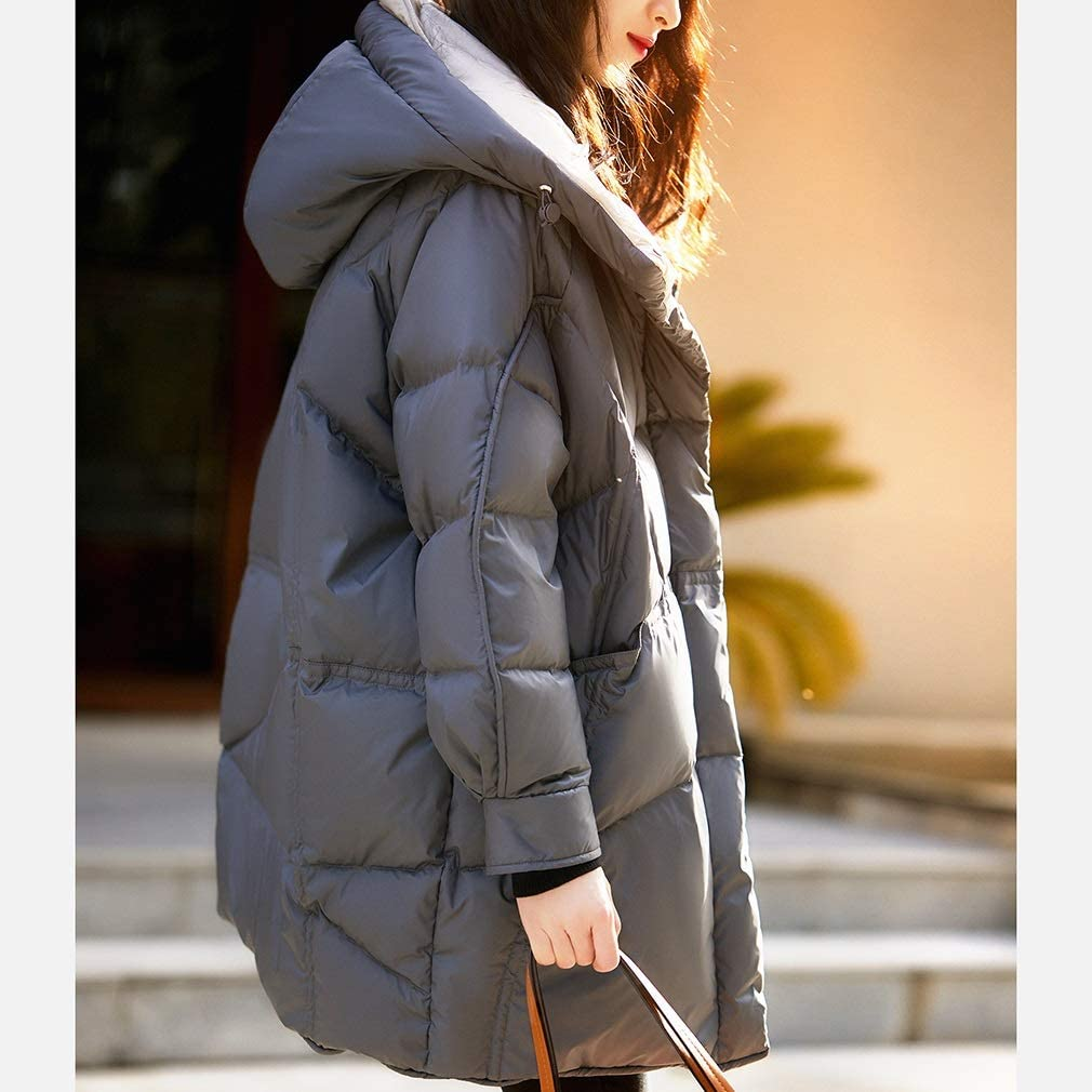 Women's Winter Down Jacket Puffer Jacket Quilted Mid Length Winter Hooded Thickened Down Coat (Color : Grey, Size : Large)