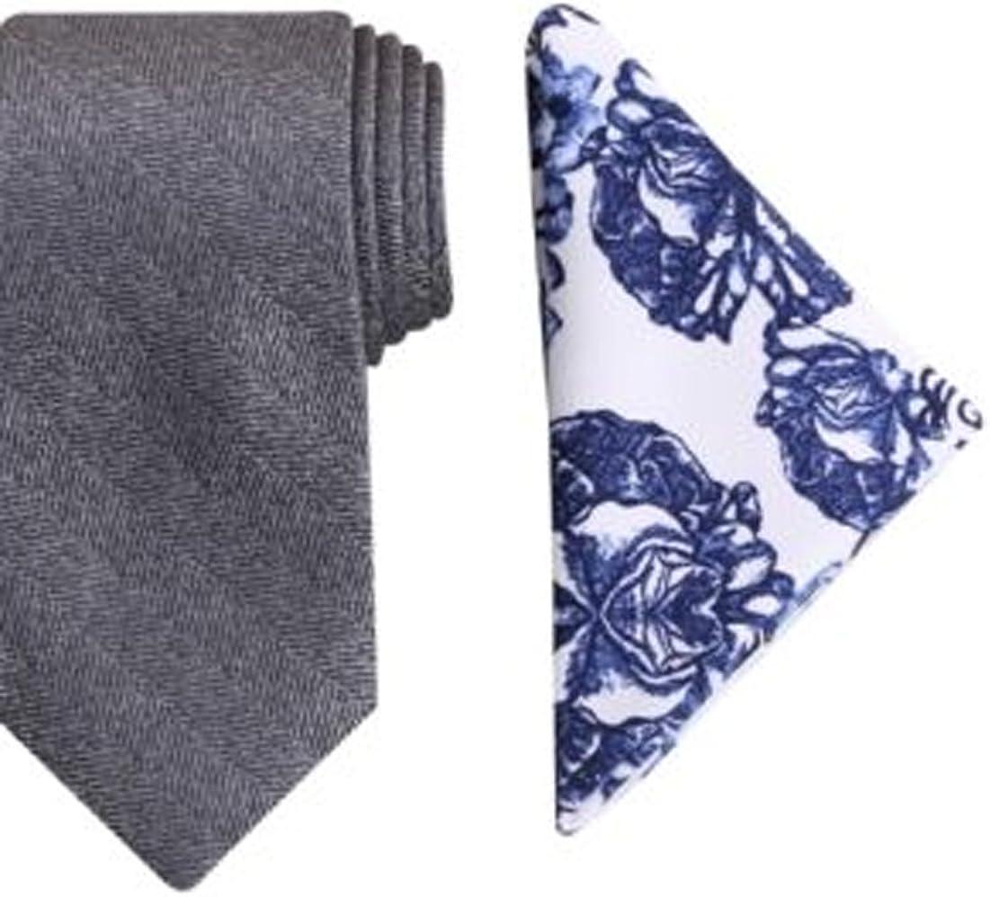 Tallia Men's Cambridge Herringbone Tie and Print Pocket Square Set - Gray