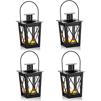 Set of 3 Flowers and Lace LED Tea Light Holders 2.75 x 2.75 x 5.5 Inches 7 x 7 x 14 cm Candle Lanterns Gray Metal and Glass WHW Whole House Worlds Romantic French Country Style Hearts