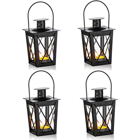 Amazon Com 4 Pcs Vintage Black Metal Mini Decorative Candle Lanterns Tealight Candle Holder Led Tea Light Candleholder Decoration For Birthday Parties Wedding Centerpiece Relaxing Spa Setting Black 4 Pcs Home
