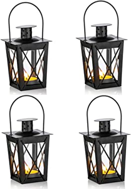 4 Pcs Vintage Black Metal Mini Decorative Candle Lanterns Tealight Candle Holder & Led Tea Light Candleholder Decoration for