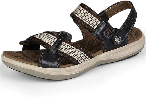 XWQXX Chaussures de Plage décontractées en Cuir Cuir pour Hommes, Sandales d'été,marron-47EU  sortie en ligne