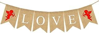 LOVE Burlap Cupid Banner - Assembled Banner | No DIY | Valentines Day Decorations - Valentine's Decorations | Valentines Day Banner Sign for Engagement, Wedding, Anniversary Decor, Valentines Garland