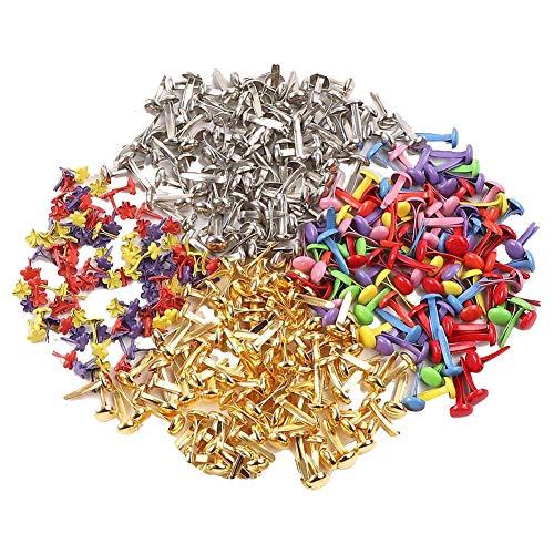 700 Piezas Mini Brads Colores Encuadernadores Scrapbooking Brads Metal Tachuelas para DIY Hecho a Mano y Papel Decoración Accesorios - Redonda/Flor/Estrella/Corazón