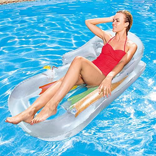 Sillón-Tumbona Hinchable,Tumbona Hinchable Playa161x84 cm,Dispone de 2 cámaras de Aire y 1 portabotellas.Verano Piscina Playa Mar para Adultos & Niños (Blanco)