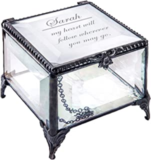 Personalized Clear Glass Box Decorative Vanity Display Case Storage Jewelry Organizer Keepsake Gift for Friend Daughter Sister Girl Women Vintage Decor J Devlin Box 326 EB246