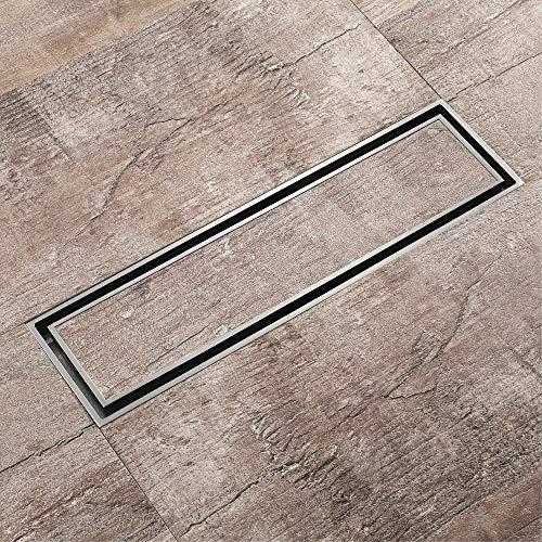 PIJN Bodenablauf All-Kupfer-Groß Verschiebung rechteckig Insekten- und geruchsabweisend Unsichtbare Bodenablauf (Color : Metallic, Size : 310x82x30mm)