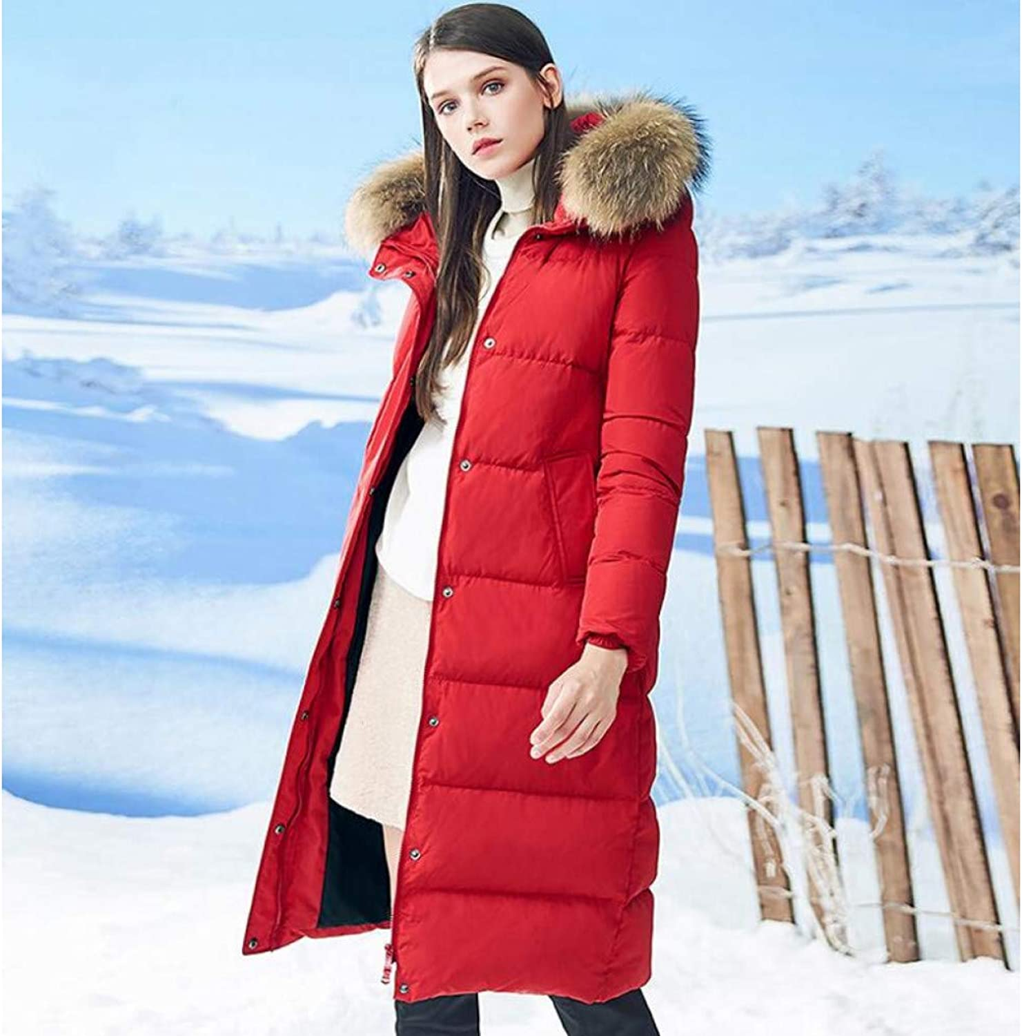 GUXIU Winter Women Long Down Coat Highend Down Jacket Elegant Loose Thick Warm Coat White Down Female Jacket