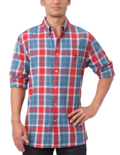 DC Shoes Riggs Ls Long Sleeve Shirt - Chemise - Homme - Bleu - Medium