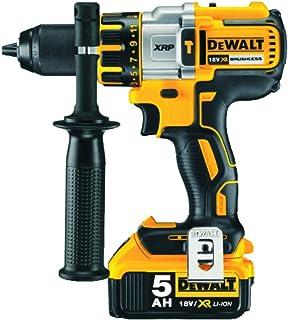DeWalt 18V 13mm Heavy Duty Premium Brushless Hammer Drill, 2 x 5.0Ah Batteries, XRP 2nd Gen Drill, with Kit Box, Yellow/Bl...