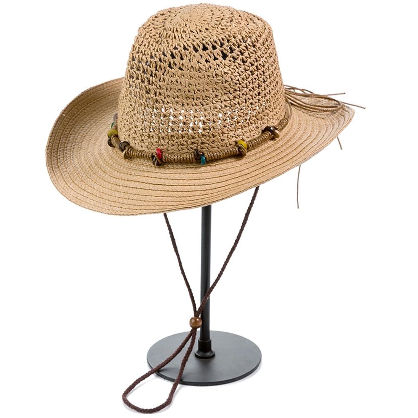 すすり泣きオリエント扇動する男性の麦わら帽子屋外ビーチ紫外線保護太陽の帽子麦わら帽子釣り帽子カウボーイハット通気性メッシュあごバンド