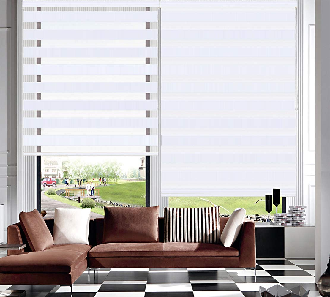 TANZUOER Zebra Roller Blinds Dual Layer Roller Shades Light Filtering Day and Night Blinds, Height 150cm White W150*H150