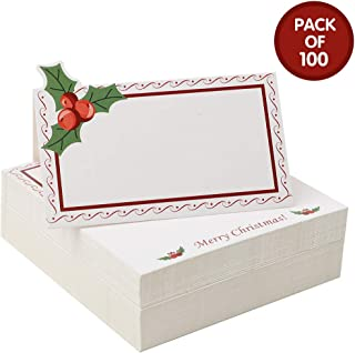 RUBFAC 100 Pack Christmas Table Place Cards/Christmas Name Cards, Small Tent Card Food Label Folded 2 x 3.5 Inch, Wedding Dining Table Decoration and Party Supplies