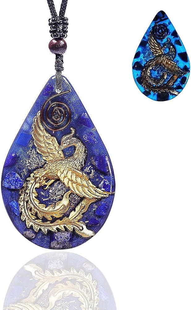 Glow In The Dark Pendant Lapis Lazuli With Phoenix Orgone Pendant Bird Of Paradise Orgone Energy Generator Necklace
