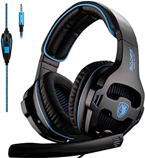 SADES SA810 Stereo Gaming Headset for Xbox One, PS4, PC, Controller, Surround Sound Over-Ear Headphones with Noise Cancelling Mic, Light Weight Design Volume Control for Laptop Mac Compute