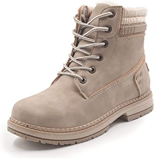 Women Warm Winter Boots Fur Lined Combat Boots Lace up...
