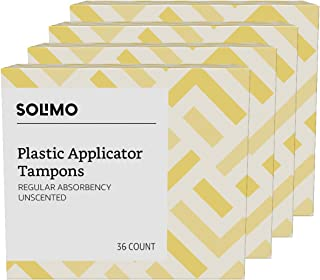 Amazon Brand - Solimo Plastic Applicator Tampons, Regular Absorbency, Unscented, 144 Count (4 packs of 36)