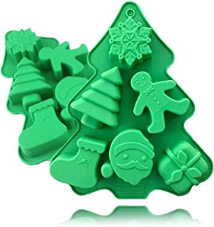 QELEG Christmas Series Snowflake Tree Santa Claus Silicone Ice Cube Trays Soap Molds - Chocolate Molds Candy Molds Christmas Silicone Molds