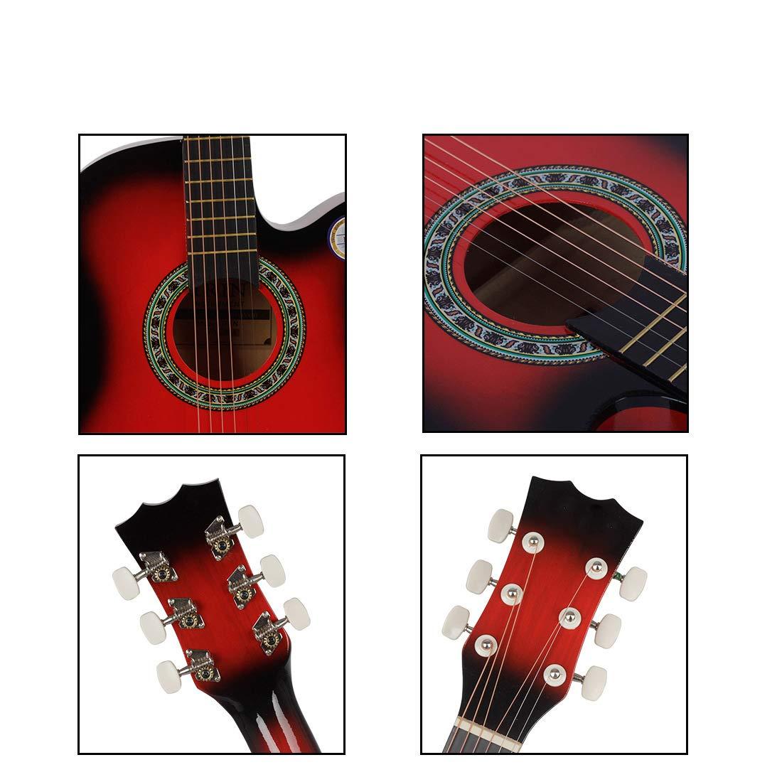 NUYI Guitarra Acústica 38 Pulgadas Guitarra Guitarra Folk Acústica ...