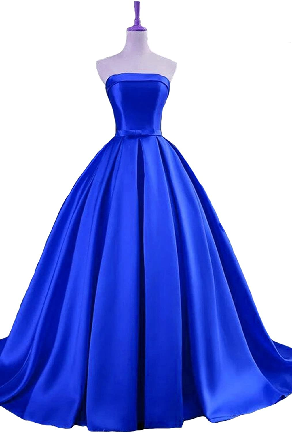 Dearta Women's ALine Strapless Sweep Train Corset Back Prom Dress with Bowknot