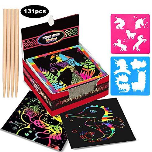 Kratzbilder für Kinder ,Aivatoba Mädchen Geschenke Blätter Regenbogen Kratzpapier zum Zeichnen Bastelset Kinder für 3-12 Jahre Mädchen Jungen