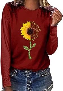 Women Sweatshirts Fashion Plus Size Print Round Neck Long Sleeved T-Shirt Blouse Slim Fit Tunic Tops