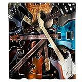 Final Friday Musik-Duschvorhänge, Instrumente Art der Gitarre, Musik-Thema, Stoff, Badezimmer-Dekor-Set mit Haken, wasserdicht, waschbar, 178 x 178 cm, Braun, Weiß & Blau