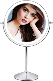 Rechargeable Lighted Makeup Mirror, 8 Inch Double Sided Makeup Vanity Mirror with 3 Colors Lighting, 10X Magnifying Mirro...