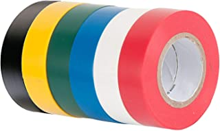 6 Pack Mixed Colour Electrical Insulation Tape Adhesive Gaffer Tape, 16mm×15m, 90 Meters in Total