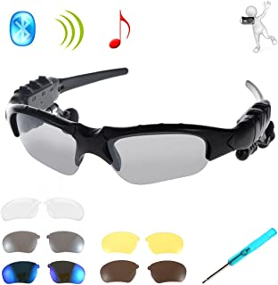 WONFAST Wireless Bluetooth Headphones Music Sunglasses Sun Glasses Headset Earphone Handsfree for iPhone 6/6plus/5s/5c/5 Samsung Galaxy Note 2 3 S3 S4 S5 S6 S6 Edge HTC and Bluetooth Mobile Phones Tablet PC + Free Replaceable 4 Pairs lens(Black)