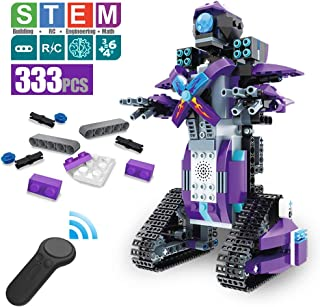 DAZHONG Remote Control Building Block Robot Educational Electric RC Robot Bricks STEM Toys with LED Intelligent Charging Gift for Boys Girls Age of 6,7,8,9-14 Year Old (Purple)