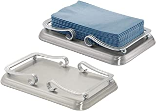 mDesign Decorative Metal Guest Disposable Paper Hand Towel Storage Tray Dispenser - Sturdy Holder with Non-Skid Base and Scroll Design - for Bathroom Vanity Countertops - 2 Pack - Brushed/Chrome