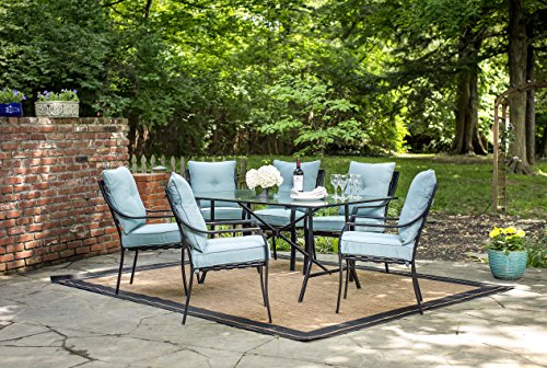 Hanover LAVDN7PC-BLU-P, 6 Chairs and Rectangle Table, Blue Lavallette 7-Piece Outdoor Patio Dining...
