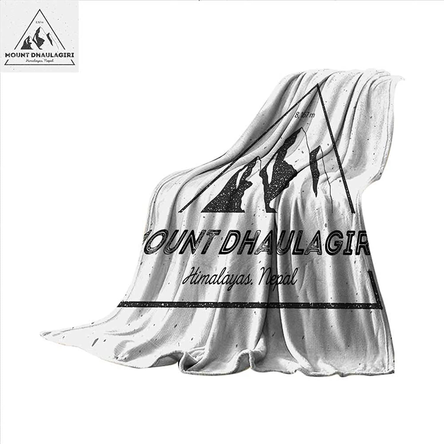 Smallbeefly Nepal Digital Printing Blanket Dhaulagiri Mountain in Himalayas Climbing Tourism Themed Extreme Sports Image Summer Quilt Comforter 62 x60  Grey Charcoal Grey