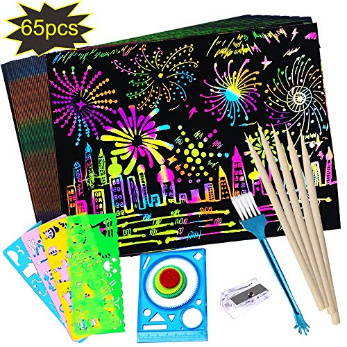 OTAN 65Pcs Scratch Art Paper Set Best DIY Paper Crafts Kits 50 Sheets Rainbow Magic Scratch Paper with 15 Tools for Kids Birthday Party Game, Best Gift for Children's Day and Christmas
