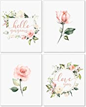 Confetti Fox Floral Nursery Wall Art Decor - 8x10 Unframed Set of 4 Pearl Prints - Baby Girl Flower Quotes Shower Bedroom Bathroom Decorations - Pink Roses Hello Gorgeous Love