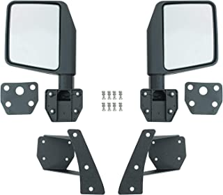 EAG Reflection Mirrors with Pillar Post Relocation Brackets Fit for 07-18 Jeep Wrangler JK