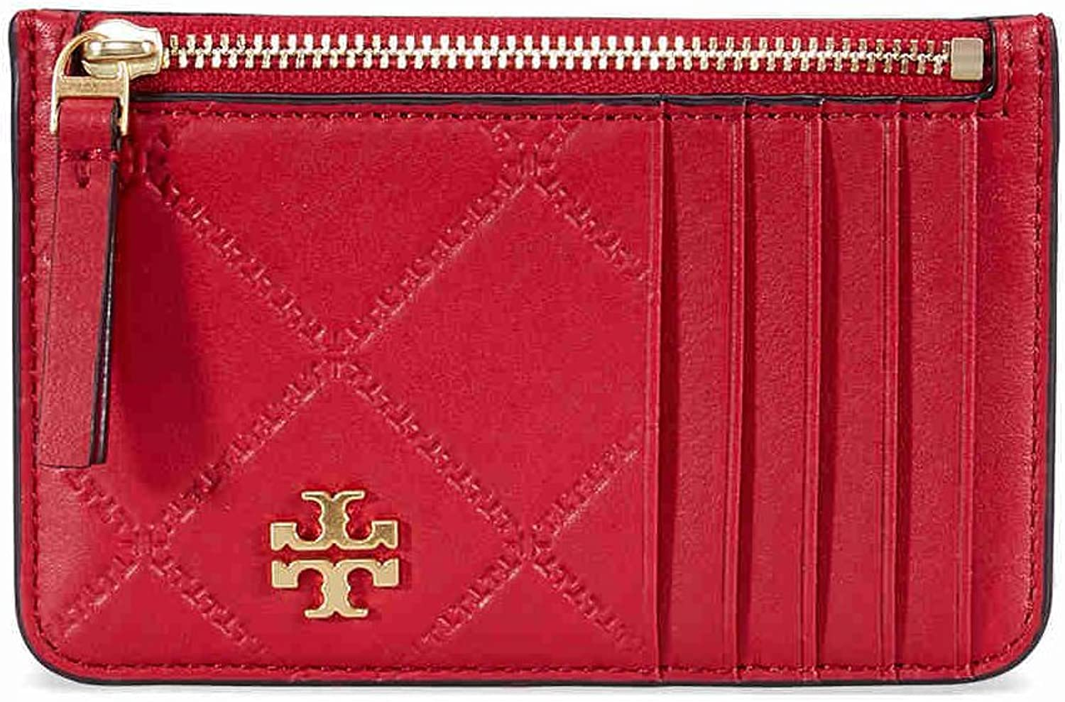 Tory Burch Georgia Quilted Zip Card Case in Liberty Red