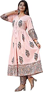 Marlin Cotton salwar suit for women readymade Kurti and pant set for women latest design Kurti with plazo set for women Kurti plazzo set in PEACH colour for women kURTI