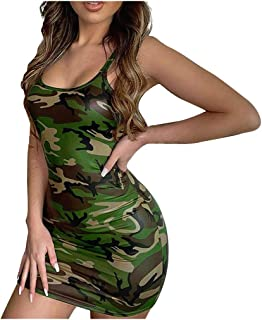 Summer Dresses for Women, Ladies Sexy Camouflage Printed Sleeveless Tank Top Bodycon Dress