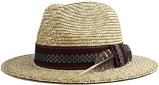 YUXUJ Sun Hat Women Men Straw Cap Summer Fashion Atmosphere Feather Straw Hat Wide Side Beach Jazz Hat (Color : 1, Size : 56-58CM)