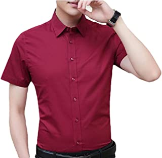 Men's Short-Sleeve Casual Solid Plain Button Down Dress Shirt