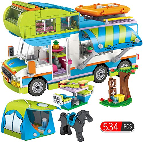 Best Buy! HSHKONG City Outing Camping Bus car Building Blocks Girl Toy