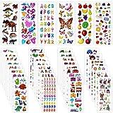 Adesivi per Bambini, Rluobo 900+ Adesivi 3D Stickers per Puffy Adesivi per Regali Gratificanti Scrapbooking Inclusi Camion, Dinosauri, Animali, Pesci, Numeri, Frutta, lettera ecc(36 Fogli)
