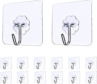 Souqgreen 14pcs Practical Strong Transparent Suction Cup Sucker Wall Hooks Hanger For Kitchen Bathroom (Clear)